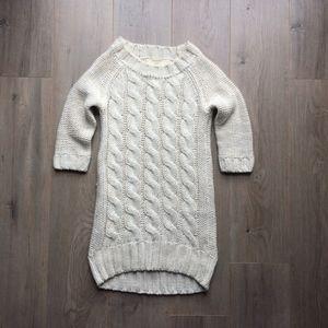 Zara Knit Long Sweater Dress Tunic White Beige